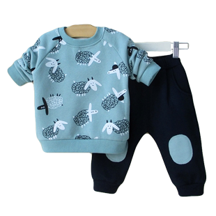 小童男宝宝加绒两件套装2幼儿卫衣