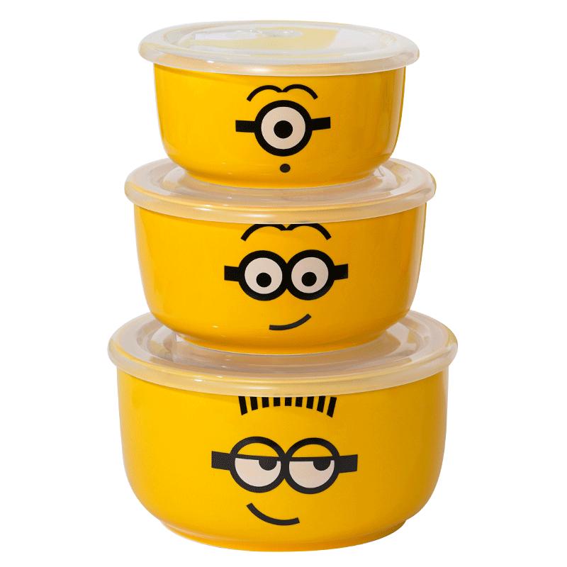 小黄人陶瓷保鲜碗三件套带盖密封碗家用微波炉专用上班族饭盒礼盒
