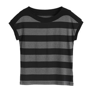 大码短袖纯棉夏装宽松条纹新款t恤