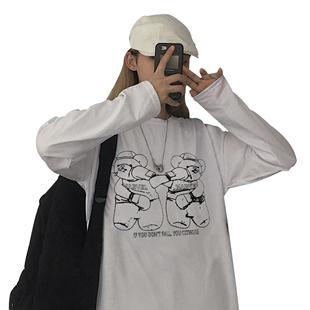 初秋原宿ins韓版女裝2019新款潮春秋百搭港風寬鬆學生長袖T恤上衣