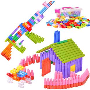 子弹头塑料拼插幼儿园宝宝2积木