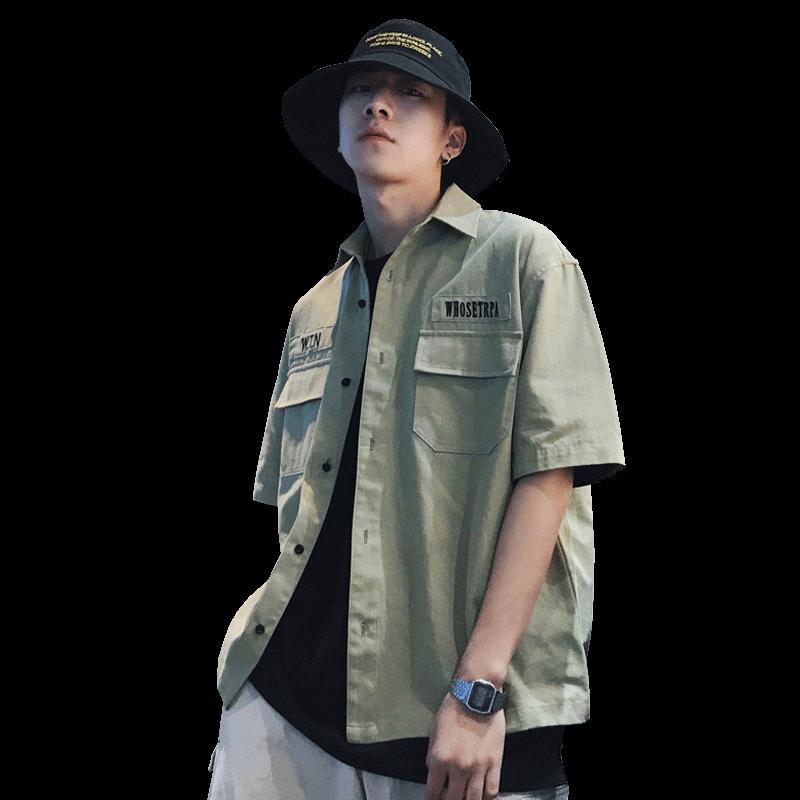 短袖工装衬衫男夏季韩版潮流日系休闲衬衣时尚工作衬衫外套上衣男