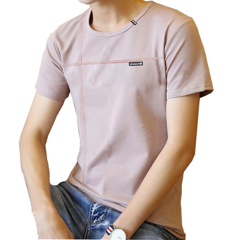 夏季男士短袖t恤青少年圆领半袖体桖潮流男装上衣服打底纯色纯棉K