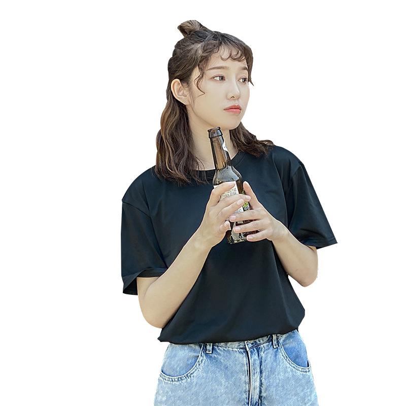梦芭蕾中长款打底衫女阳离子春夏新款糖果色圆领短袖T恤宽松显瘦