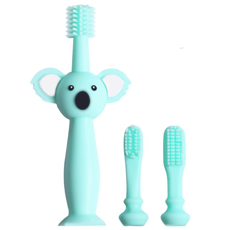 儿童1-2-3岁乳牙硅胶软毛牙刷