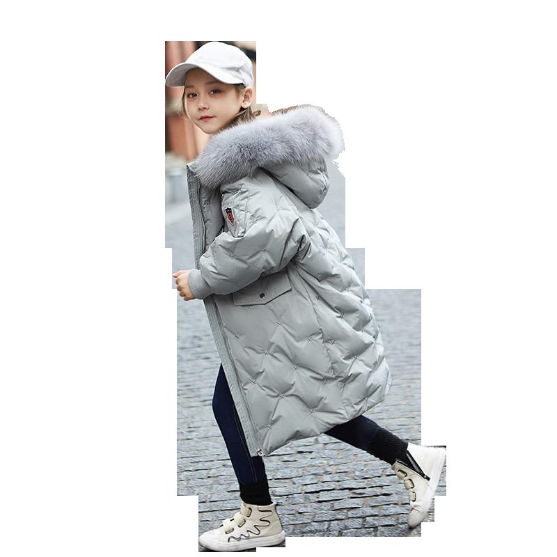 女童羽绒服中长款2019新款过膝大毛领冬装公主加厚中大童儿童外套