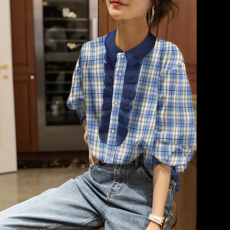 欧洲站夏装2020年新款女欧货潮木耳边格子衬衫宽松泡泡袖上衣小衫