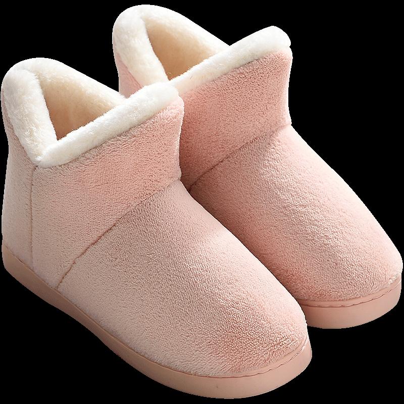 棉拖鞋女秋冬季包跟家用保暖加绒厚底室内月子鞋高帮产后毛绒棉鞋
