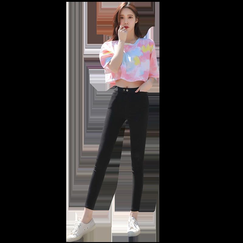 黑色魔术打底裤女裤外穿2020新款高腰小脚黑裤显瘦铅笔夏薄款九分