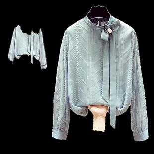 秋冬款2020年新款雪紡襯衫女裝打底衫長袖蕾絲上衣服內搭洋氣小衫