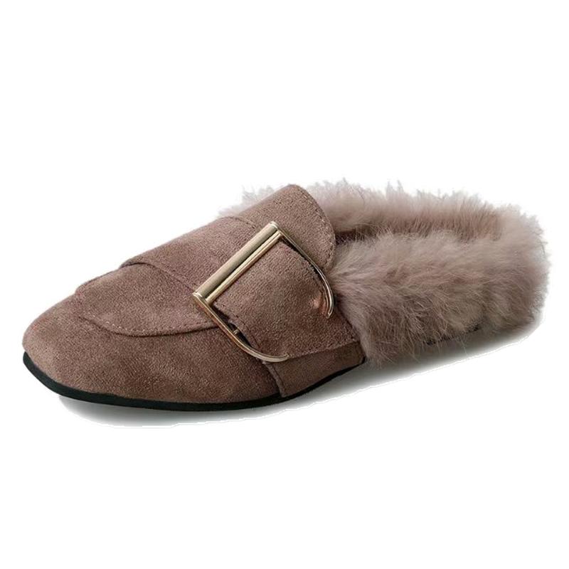 穆勒拖鞋女2019秋季新款时尚外穿毛毛拖鞋包头半拖鞋一脚蹬懒人鞋