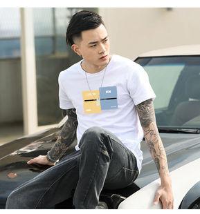 夏季短袖t恤男纯棉印花学生青少年
