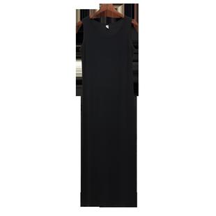 黑色背心打底連衣裙女中長款吊帶裙內搭秋冬季加絨無袖防透內襯裙