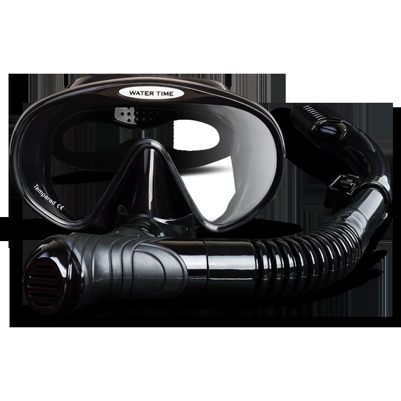 全干式潜水镜近视自由防雾呼吸器管套装浮潜三宝游泳装备眼镜面罩