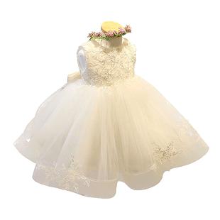 女童2019夏装新款连衣裙儿童演出服洋气公主裙蓬蓬纱白色舞蹈服装