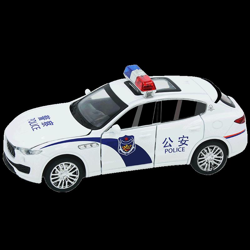 儿童仿真加长特警警车玩具男孩合金警察车模型声光回力宝宝玩具车