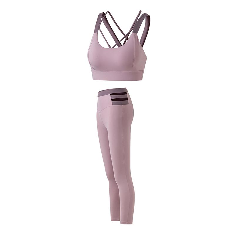 瑜伽服运动套装女夏天时尚性感带胸垫专业高端薄款网红健身套装