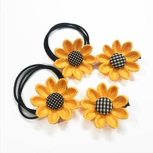 韓版小清新太陽花發繩髮夾泫雅風可愛女孩向日葵邊夾皮筋頭繩髮飾