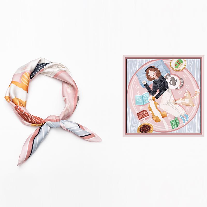 知雾自制~春夏季手绘风~少女与梦百搭文艺装饰丝巾小方巾领巾女
