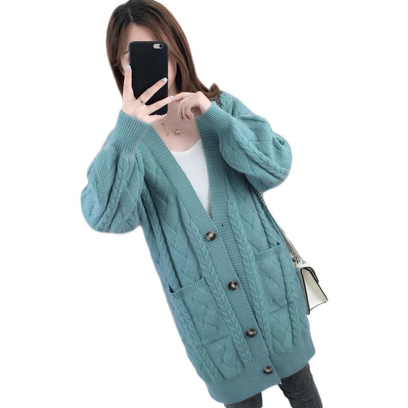 女士开衫毛衣秋装2020年新款韩系女装宽松针织外套女秋冬百搭外穿