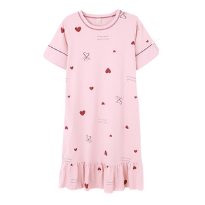 带胸垫夏季纯棉短袖加肥加大码睡裙