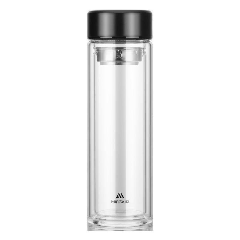 明霞双层玻璃杯男士家用水杯高档便携透明带盖茶水分离泡茶杯子女