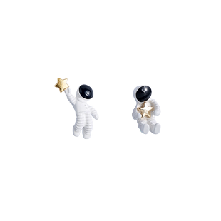 宇航員耳夾高級感耳夾無耳洞女酷暗黑系法式學生短款百搭超酷耳環