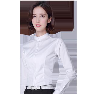 立領職業白襯衫女長袖設計感小眾2020年秋冬新款圓領內搭加絨襯衣