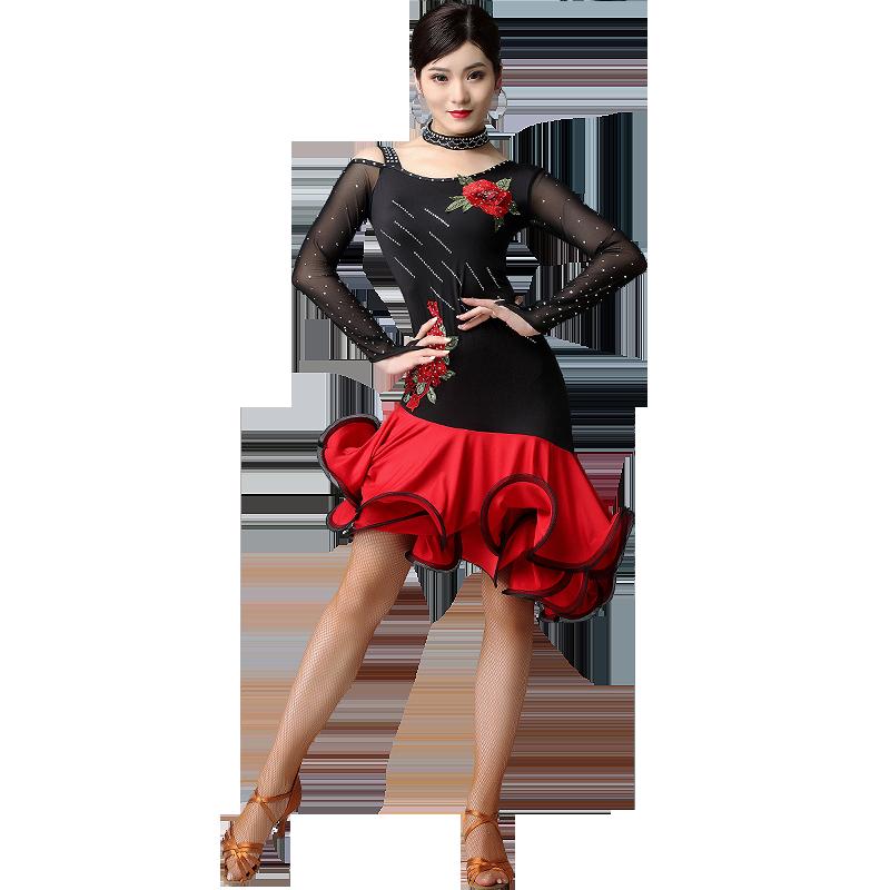 妹姿彩拉丁舞蹈专业演出比赛服装女成人练功服2020新款夏季连衣裙