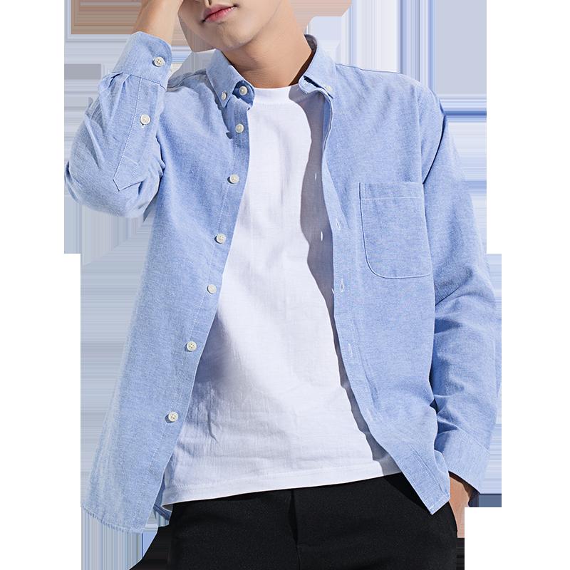 男士长袖加绒白衬衫韩版潮流帅气秋装上衣外套休闲保暖黑衬衣服寸