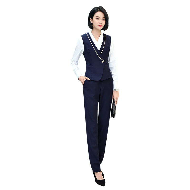 夏季新款短袖V领衬衣裙子马甲长裤职业女装酒店办公室职业套装
