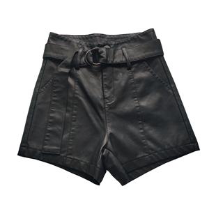 2019皮短裤外穿高腰宽松pu皮裤子