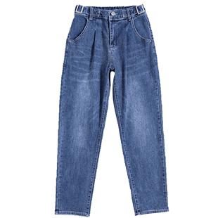 加絨哈倫牛仔褲女寬鬆直筒2020秋冬新款外穿女士高腰老爹蘿蔔褲子