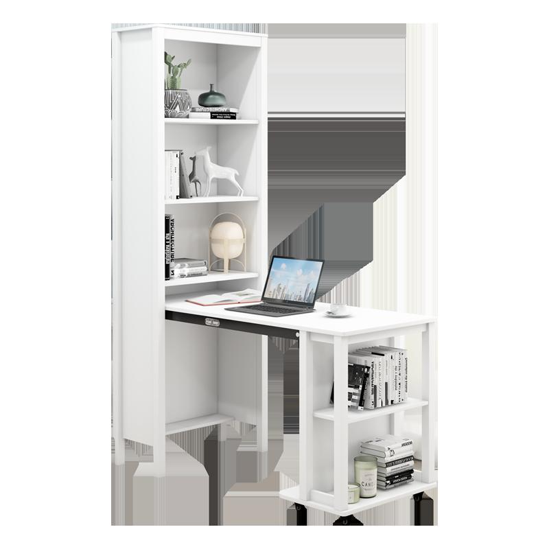 家用书桌书架伸缩折叠北欧现代简约学生书柜一体组合办公电脑桌子