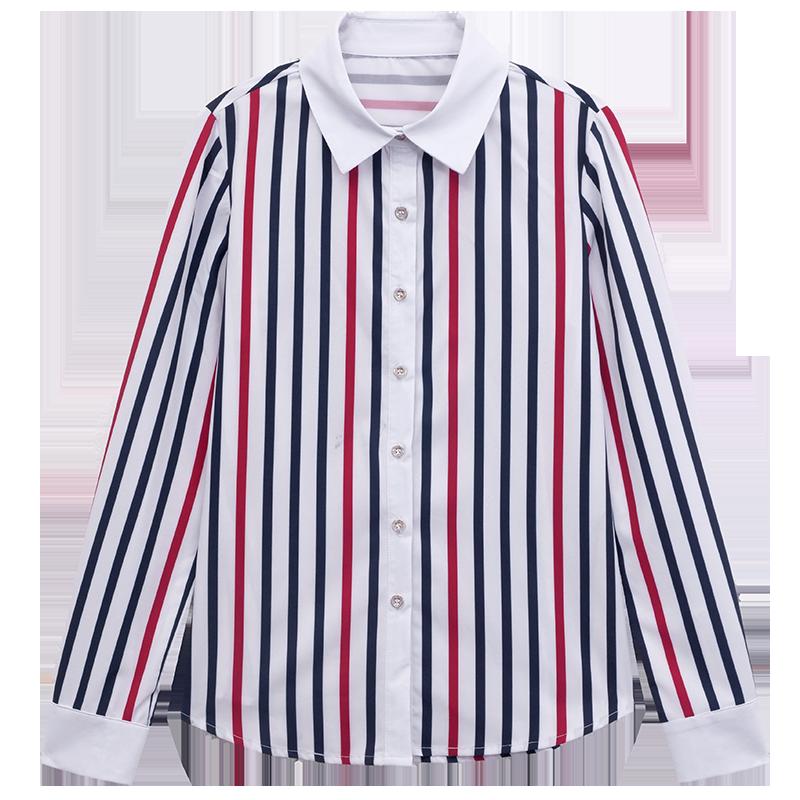 长袖条纹雪纺衬衫女2020年秋季新款洋气韩版衬衣打底衫职业装上衣