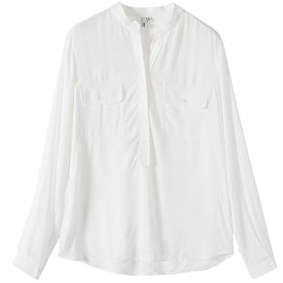 hopeshow白色雪紡衫女紅袖秋裝新款寬鬆長袖襯衫
