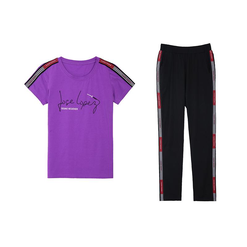 纯棉休闲运动套装女大码透气圆领短袖T恤显瘦显高九分裤两件套潮