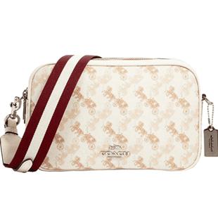 COACH/蔻馳奧萊款女包馬車logo印花PVC配皮單肩斜挎相機包包