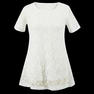 胖妹妹夏装新款大码女装中长款宽松百搭显瘦短袖蕾丝上衣打底衫女