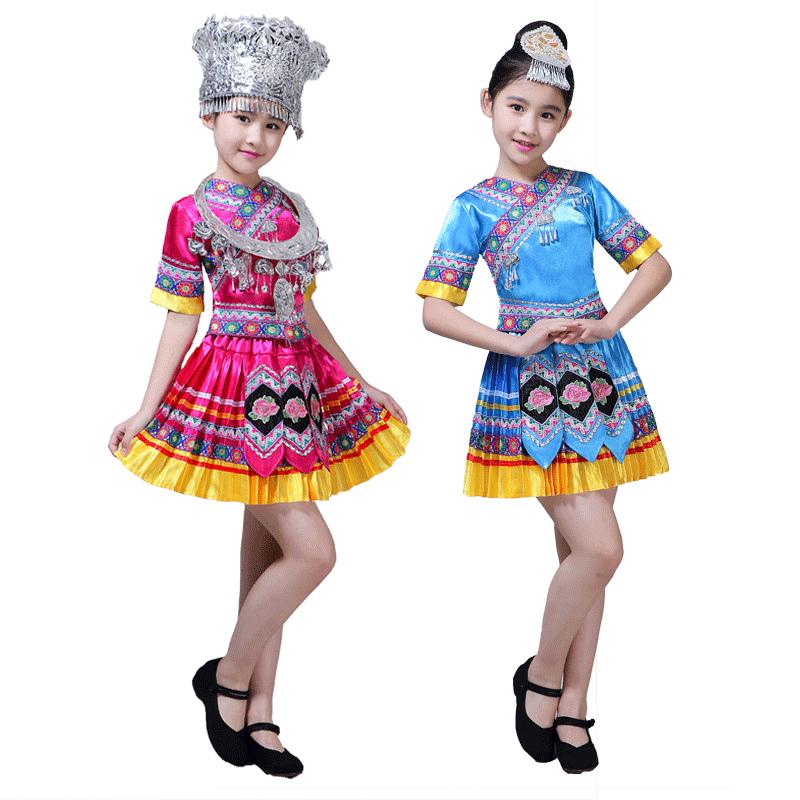新款儿童苗族演出服饰女童云南少数民族舞蹈服装民族风彝族表演服