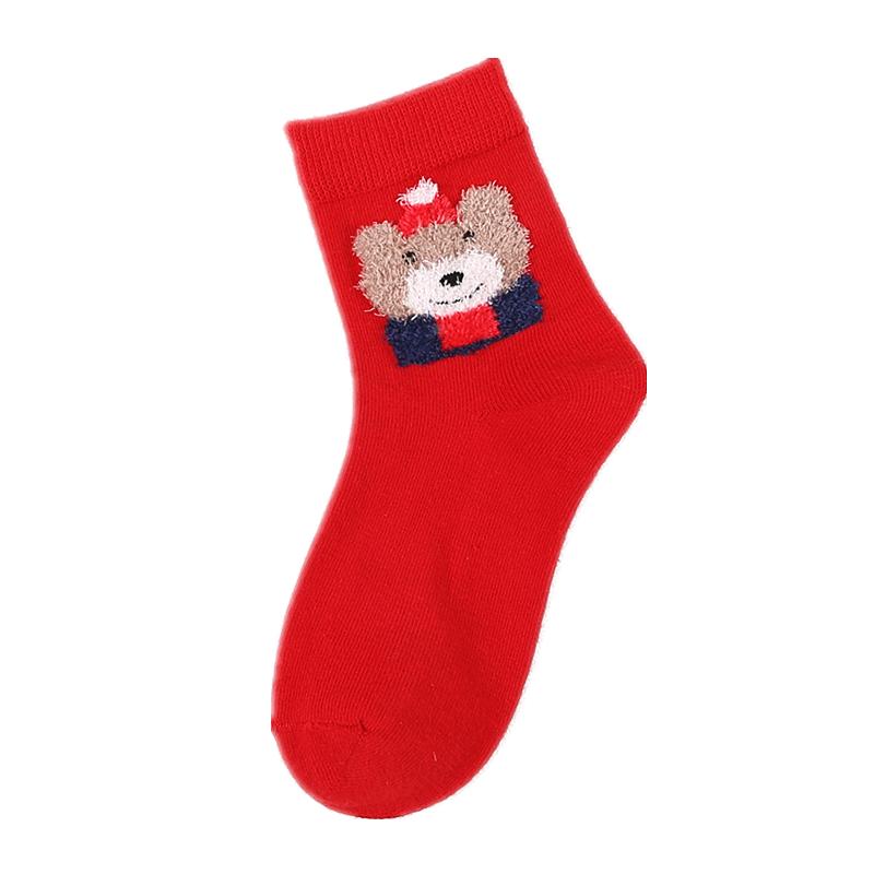 儿童本命年袜子男孩女孩大红色新年福袜中小童可爱棉袜2-4-8-12岁