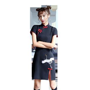 改良版旗袍復古中國風黑色年輕款少女短款修身性感日常顯瘦連衣裙