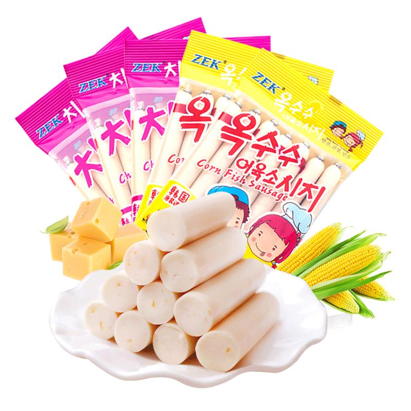 【进口】韩国ZEK鳕鱼肠芝士105g*3+玉米105g*2儿童零食休闲海味