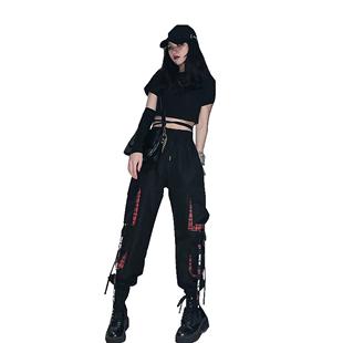酷酷風格女裝黑暗系高腰工裝褲套裝女潮小個子顯高機能風夏季洋氣