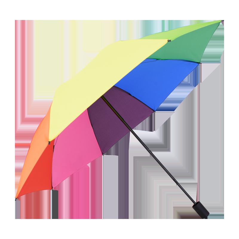 羚羊早安 双人彩虹伞加大加固伞清新文艺三折雨伞