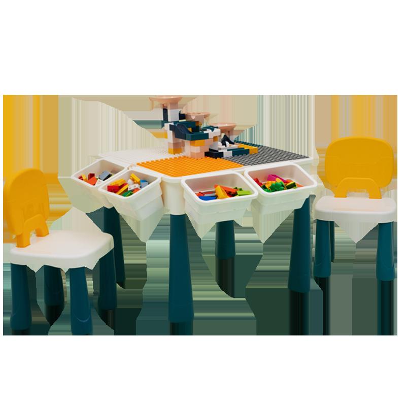 儿童积木桌子学习大颗粒多功能拼装玩具