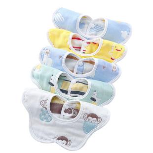 婴儿6层纯棉防水口水巾5条装