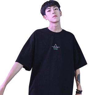 夏季新款短袖男士t恤港風T恤體恤衫韓版潮流寬鬆潮牌ins港風上衣