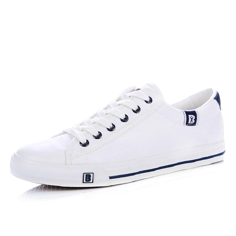 人本帆布鞋男鞋2019春季百搭小白鞋男士潮韩版学生运动板鞋球鞋子