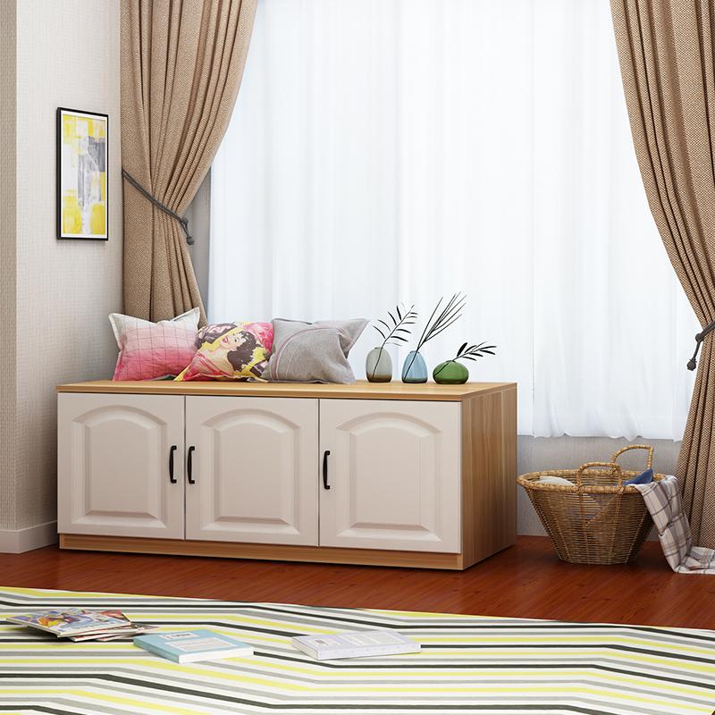 简约现代飘窗柜阳台柜地柜矮柜储物柜可坐长条柜窗台柜柜子定制